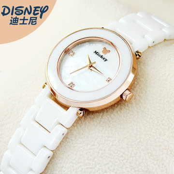 Disney Ceramic white watches for women luxury diamond Mickey mouse original brand quartz ladies clocks waterproof woman watch 100% genuine disney mickey mouse women quartz wrist watch with brand box packaging for 2016 birthday gift 30m feet waterproof
