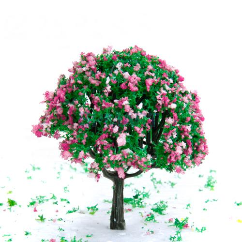 27 Inch Green Train Set Scenery Landscape Model Tree With Pink And