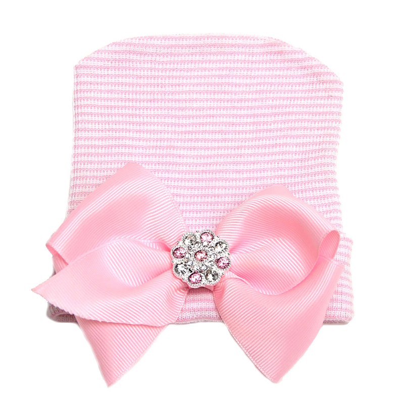 Hats For Girls Cotton Pink Bow Baby Hat Crochet Photography