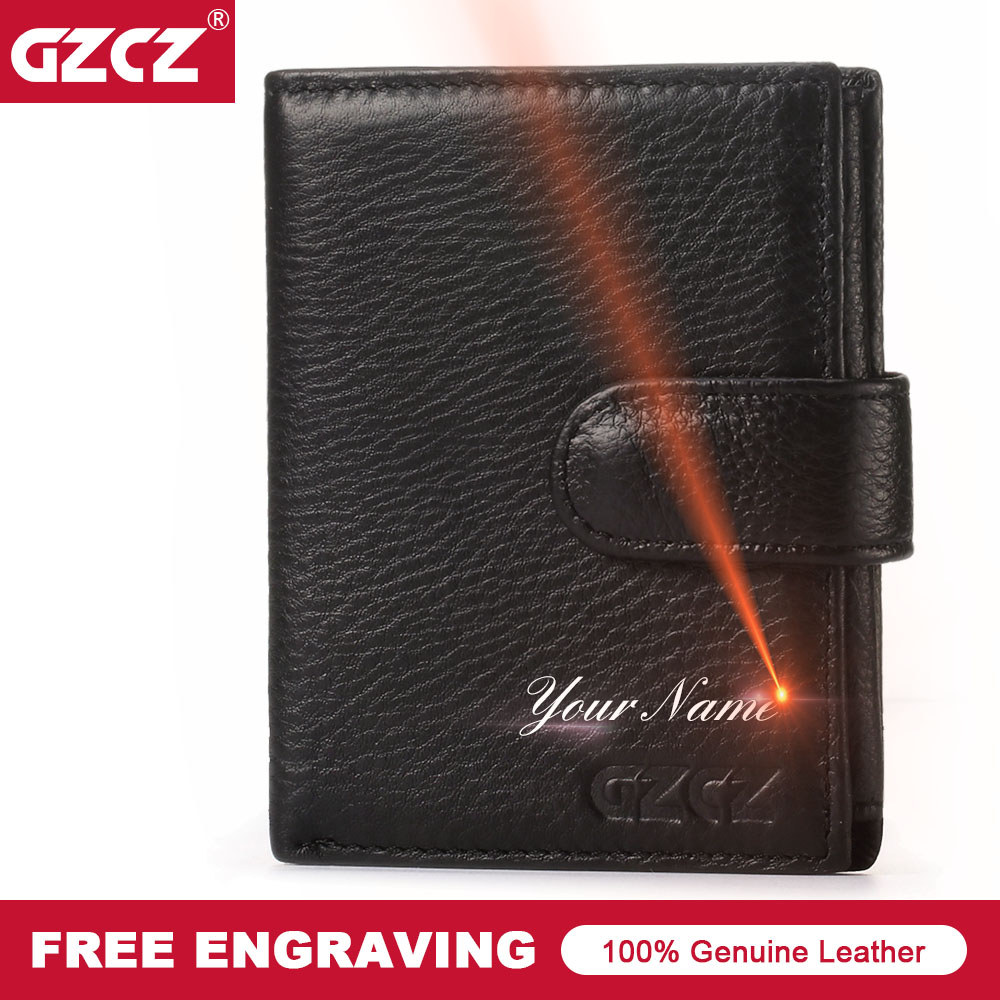 GZCZ New Wallet Genuine Leather Men Business Hasp Standard Wallets PURSE Man Purses Wallets Drop Shopping Money Bag Portomonee