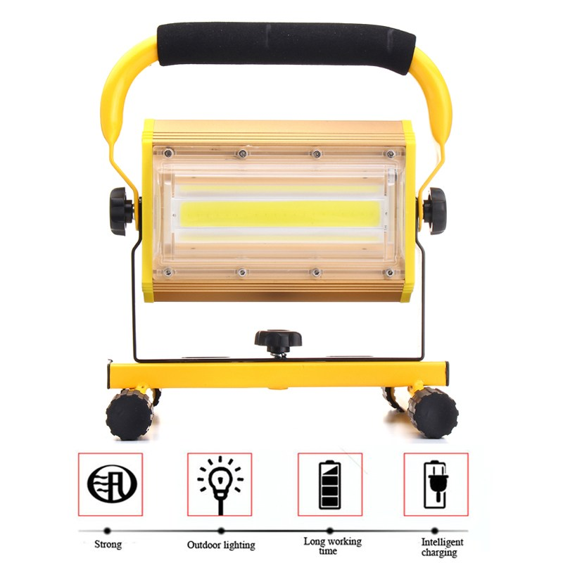Dimmable 100W Portable Cordless Work LED Floodlight Rechargeable COB LED Flood Light Spot Outdoor Working Camping Lamp super 2017 new arrival 50w 36 led portable rechargeable flood light spot work camping fishing lamp dropshipping b35