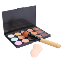 Free Shipping 1 PCS 15 Colors Cream Makeup Concealer Palette With Sponge Puff And Powder Makeup Brush #BSEL