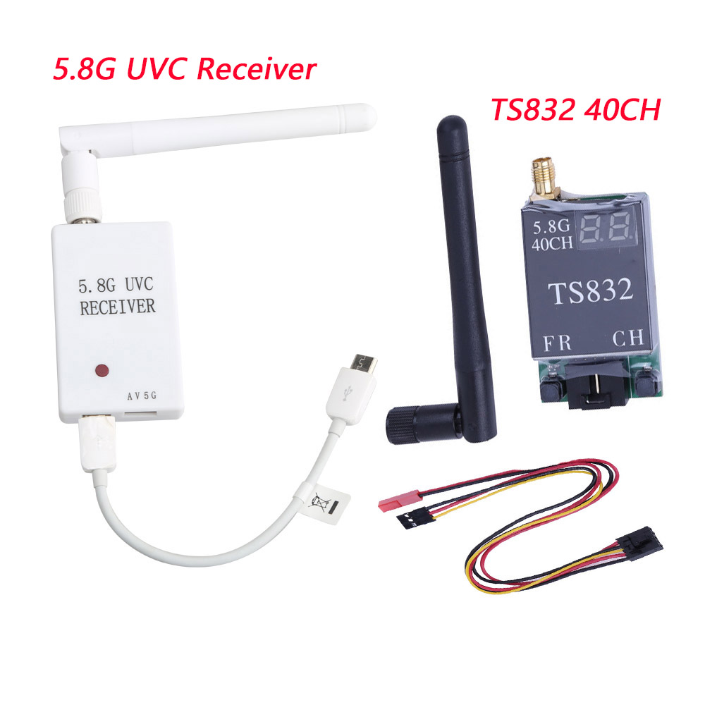 Mini 5.8G FPV Receiver UVC Video Downlink OTG + TS832 48Ch 600mw Wireless Audio/Video Transmitter For VR Android Phone