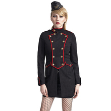 Christmas Military Black Jacket Gothic Women Tailored Suit Dust Three quarter Outerwear Coat