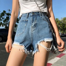 Korean Style Frazzle High Waist Irregular Female Student Denim Shorts Summer Solid Color Pocket Decoration Women Short Pants trendy high waist solid color irregular mini shorts for women
