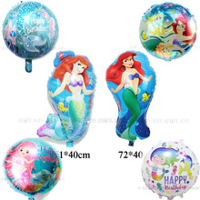 6pcs/lot mermaid party balloons mixed style round irregular A little foil kid toys for girl birthday