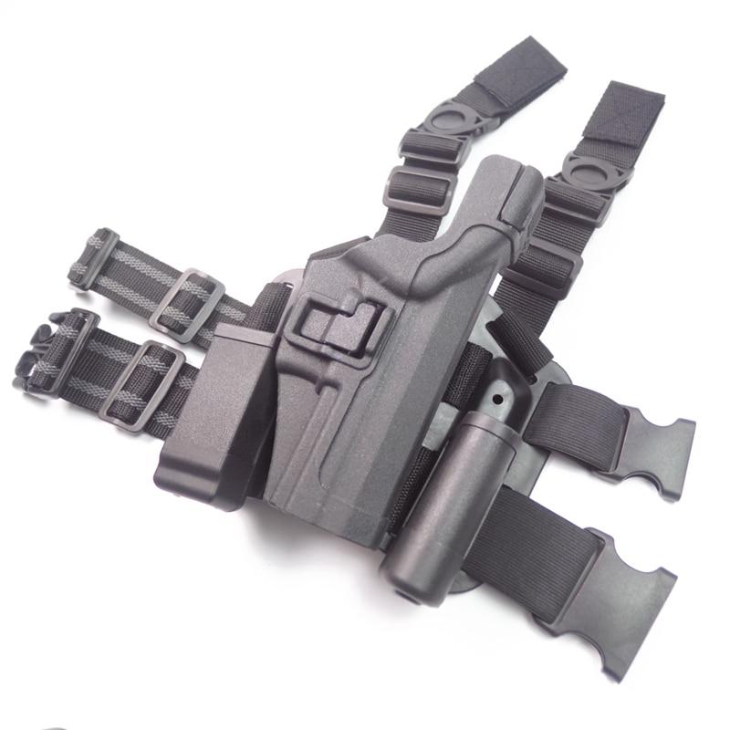 Black Gun Holster Pistol Holster Tactical accessories Gear Leg Holster fits H&K Compact USP adjustable quick release plastic tactical puttee thigh leg pistol holster pouch for usp45 black