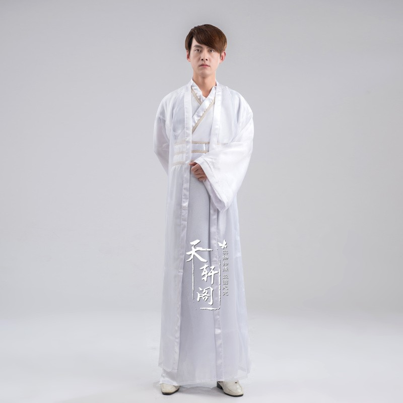 Ancient China 2 Colors Black White National Hanfu Chinese Clothing Cosplay Costume performance wear costume hanfu Man clothes