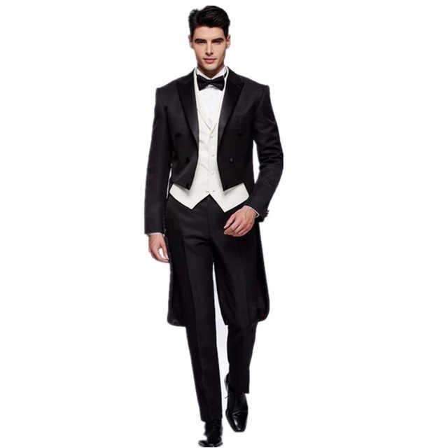 Мужской костюм на заказ двубортный жениха фрак модные мужские костюмы для