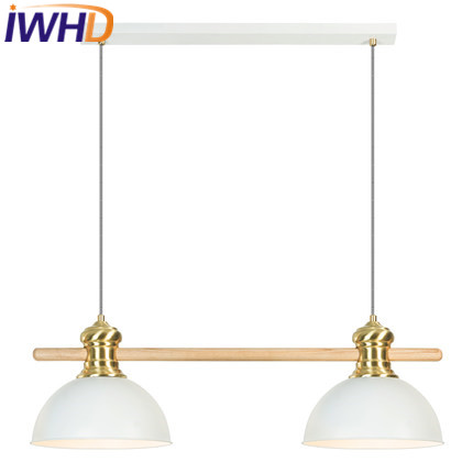 IWHD Double Heads Iron Lampara Led Pendant Light Fashion Kitchen Modern Hanging Lamp Home Lighting Fixtures Bedroom Hanglamp