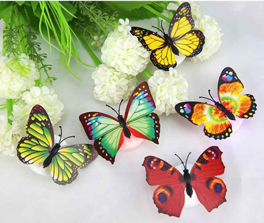 Горячее предложение цена Настенный декор красочный меняющийся бабочка светодиодный ночник лампа для дома комнаты вечерние настольные предметы интерьера