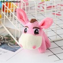 HANDANWEIRAN 1PCS Big Hair Donkey Plush Pendant Children Toy Student Grab Machine Doll Birthday Party Gift 9CM