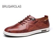 Brugarolas-Новинка 2017 Весенняя Мужская Fashion кожа вождения твердого обуви человек шаг в отдых матовое низкие повседневные Обувь на шнуровке