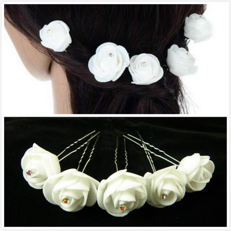 6pcs Weddding Bridal Rose Hair pins Women White Rose Flower Hair Sticks, Hair clip Rose Hair Accessory