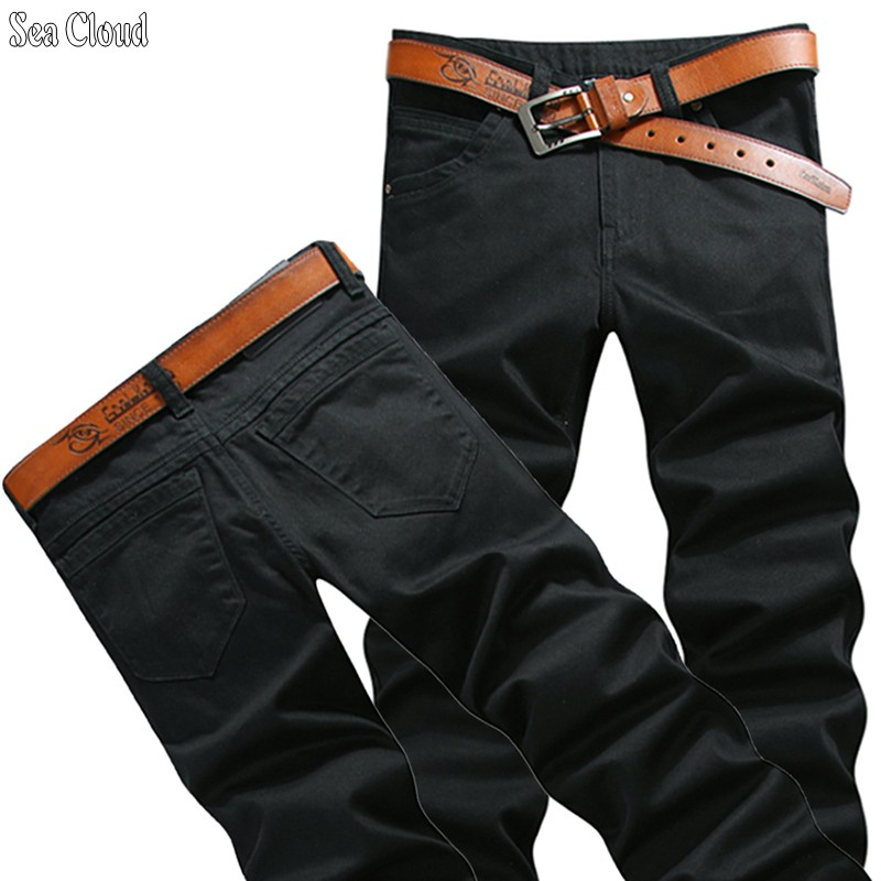 82 Free shipping big size 28-44 plus length 125cm men pants cotton male jeans military man black long trousers for 200cm