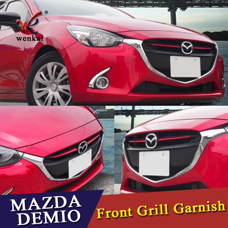 Chrome Front Grille Grill Cover Trim Molding FOR Mazda 2 Demio 2015 2016 2017 DJ DL Mazda2 Hatchback Sedan Accessories Styling chromesupply mazda 2 demio chrome side mirror cover with led side blinker trim