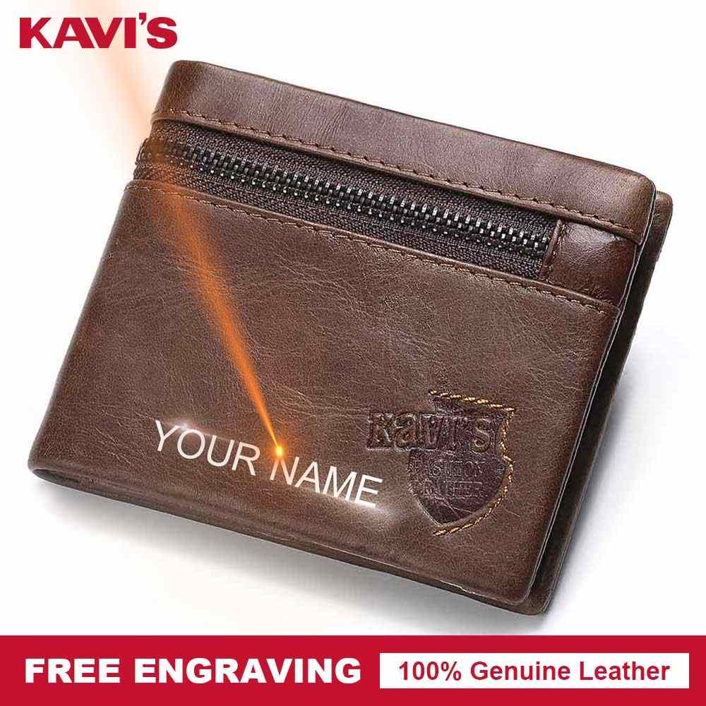 KAVIS Free Engrave Genuine Leather Men Wallet Coin Purse Male Cuzdan Small  Walet Portomonee PORTFOLIO Card Holder for Name