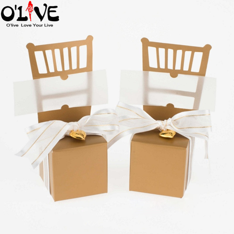 100 Pcs Chair Place Card Holder Gold Silver Candy Box Gift Wedding Bonbonniere Party Favors Boxes Chocolate Dragee Baby Shower image