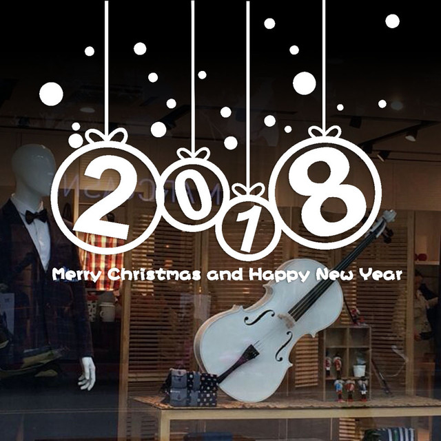 2018 merry christmas and new year wall sticker home shop windows decals decorations holiday u71107 es2