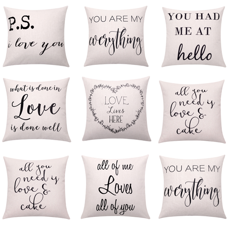 Valentines Day Cushion Cover Love Quote Throw Pillow Cover Letter Pillow with Words Deco ...