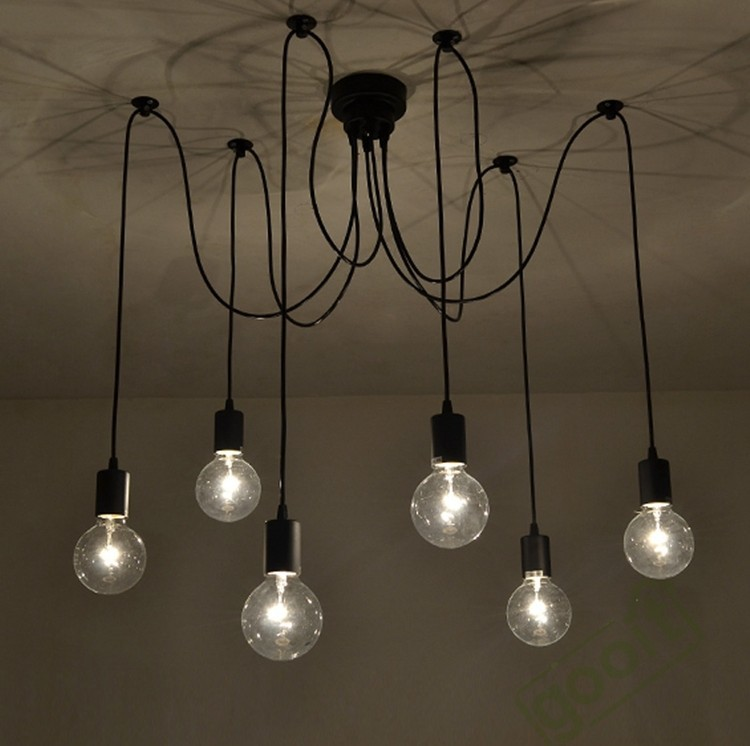 6 arm edison bulb Pendant Chandelier Modern Antique Adjustable DIY E27 Art Spider Ceiling Lamp Fixture Light diy vintage lamps antique art spider pendant lights modern retro e27 edison bulb 2 meters line home lighting suspension