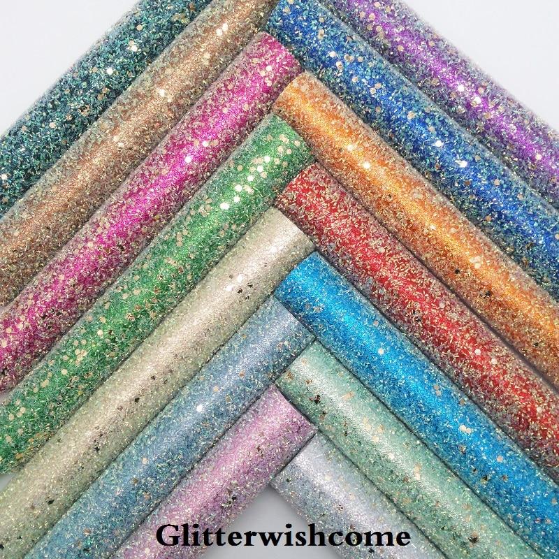 Glitterwishcome 21X29 см A4 Размеры синтетическая кожа, устойчивый блеск кожи, искусственная кожа PU Ткань Винил для Луки, GM054A