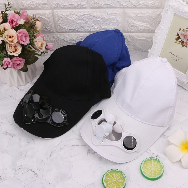 Summer Sport Outdoor Hat Cap With Solar Sun Power Cool Fan Bicycling Climbing