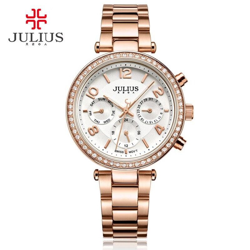 купить 2017 New Watch Relogio Feminino Female Clock Auto Day Date 24 Hour Stainless Steel Silver Gold Women Fashion Casual Watch JA-950 по цене 2988.68 рублей