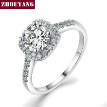 Cor prata Exquisite Wedding & Engagement Bijoux Fashion Square Anel Feito Com Cubic Zirconia Jóias R531 R559 R560(China)