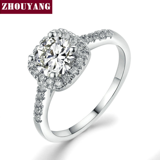 Silver Color Exquisite Bijoux Fashion Square Wedding & Engagement Ring Made With