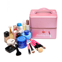 Professional Makeup Bag Women Cosmetic Bags Case High Quality Leather Female Korean Makeup Box Large Capacity