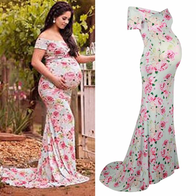8b7c533b7178 Puseky Soins Infirmiers Vêtements De Maternité Photographie Accessoires  Femme Maxi Robe Longue Florale Longueur Vêtements pour