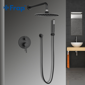 FRAP round bathroom shower faucet system brass set black rainfall shower mixer tap bathtub faucets waterfall Bath Shower Y24024 frap digital bathroom shower mixer with display bath shower faucet system set wall mount mixer digital display shower panel