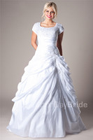 Classic Taffetea White Ball Gown Modest Wedding Dresses With Sleeves Square Pick Ups Church Bride Dresses Wedding Ceremony Gown