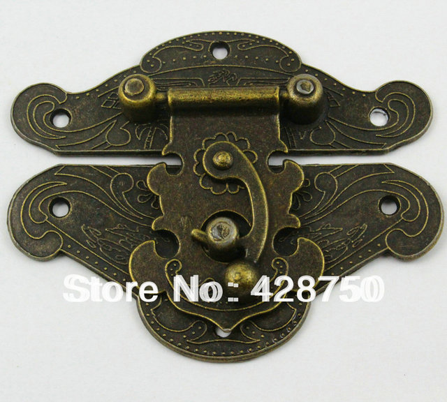 Antique Brass Jewelry Box Hasp Latch Lock 82x65mm with Screwsin
