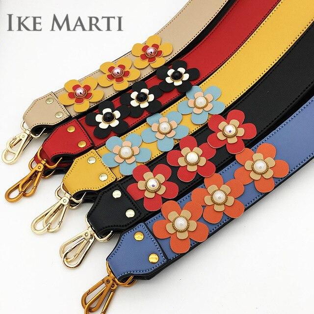 Flower Wide Shoulder Bag Strap Women Handbag Straps You for Bags Accessories Colorful Leather Straps for crossboy Bag Long Belt
