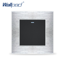 New Arrival 1 Gang Way Switches Wallpad Luxury Wall Light Switch Satin Metal Panel Rocker Interrupteur 10A AC110~250V