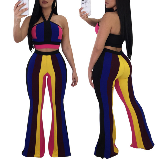 7b7392459a36 Sexy 2 Piece Set Women Halter Strapless Tops and Flare Pants Suits Summer  Outfits Striped Jumpsuit Overalls Clubwear Mono Mujer