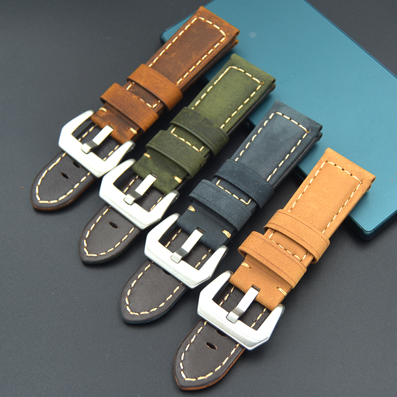 High Quality Men 22mm 24mm strap Vintage Crazy Horse Genuine Leather Watch band Brown green Blue Watch Straps for Panerai PAM