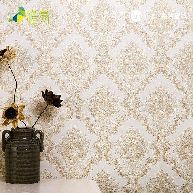 Non woven european silver grey damask wallpaper wall paper for Grey and silver wallpaper living room