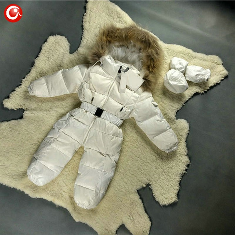 6M-4T Baby Girls White  Duck Winter Down Coat +Down Gloves Clothes Kid Boys Ski Snow Thick Hooded Warm Jacket Clothing Snowsuit (14)