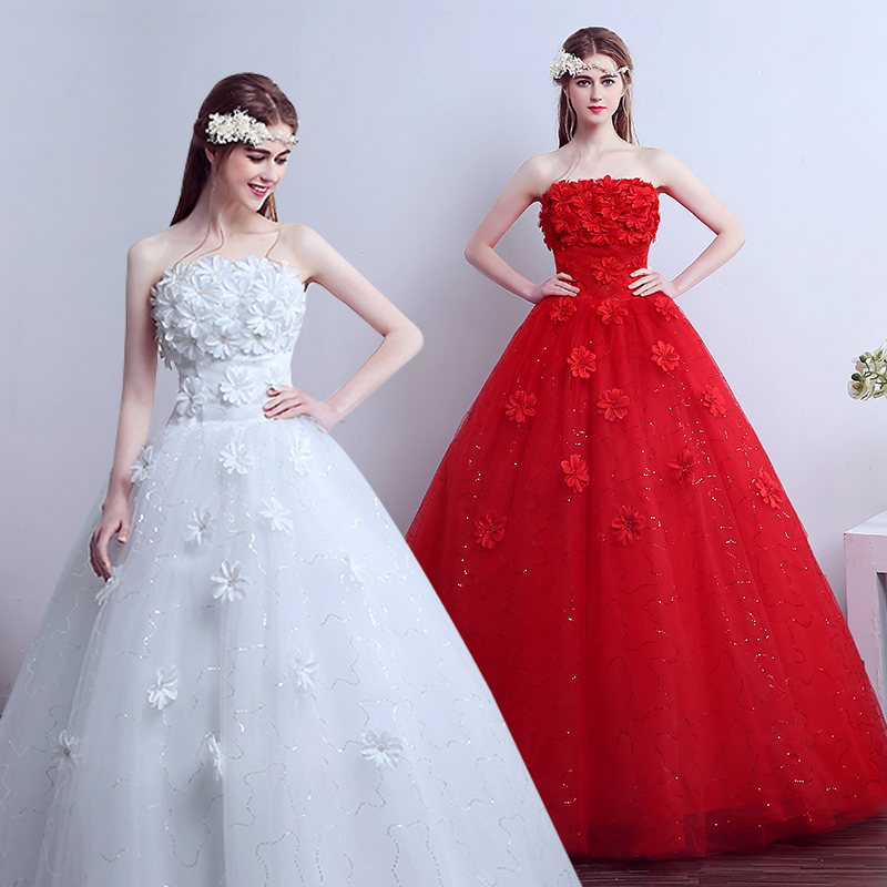 Vestido De Noiva strapless wedding gowns flowers beaded bride gown beautiful cheap wedding dresses made in china
