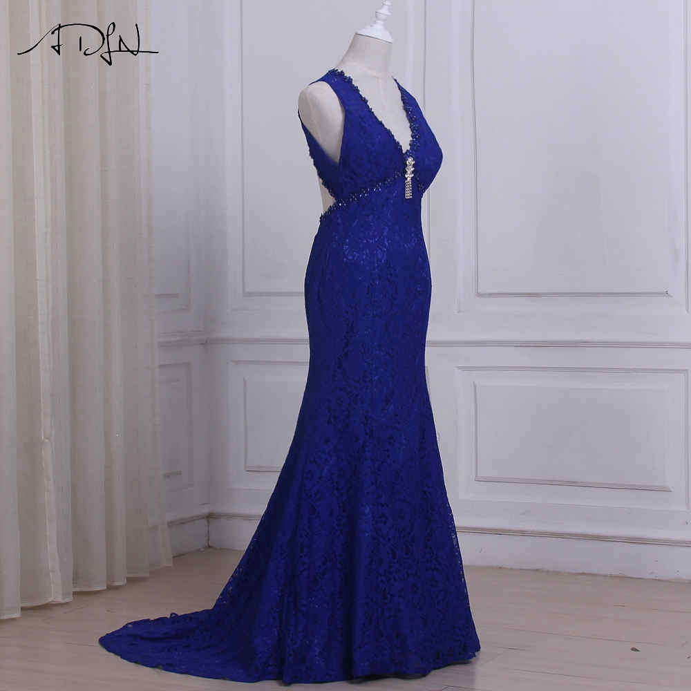 ADLN Cheap Royal Blue Lace Evening Dresses Sexy V neck Sleeveless Empire  Long Party Prom Gowns Robes De Soiree Open Back -in Evening Dresses from  Weddings ... 52ae61f18f81