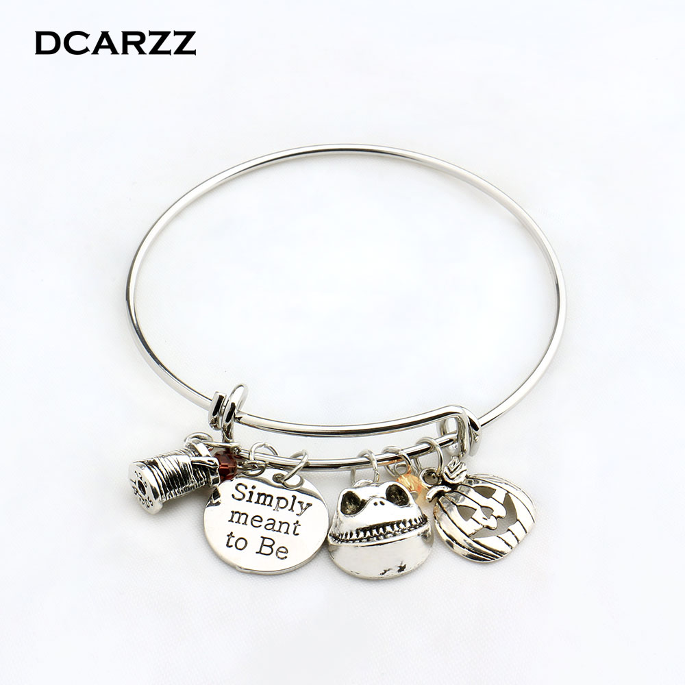 Nightmare Before Christmas Bangle Simply meant to beJack and Sally Bracelet Love Gift for Lovers Drop Shipping
