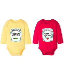 YSCULBUTOL Cotton Long Sleeve Ketchup and Mustard Set Bodysuits Twins Outfit One Piece Cute Funny Clothing