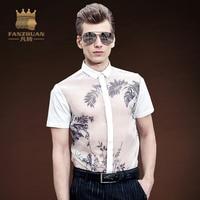 FANZHUAN 2017 Summer Men Hawaiian Short Sleeve Shirt Male Personality Transparent Floral Printed Shirt Men S