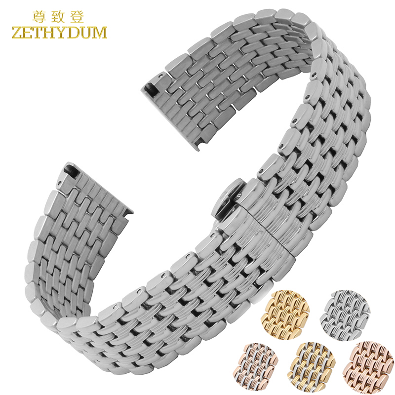 Stainless steel watchband Thin solid metal bracelet 12 14 18 20 22mm watch strap man woman wristwatches band rose gold belt solid stainless steel bracelet watch strap metal wristwatches band pink gold silver watchband belt butterfly clasp 18mm 20mm22mm