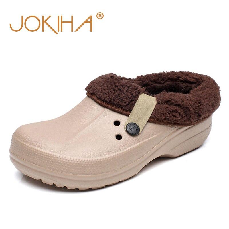 Zuecos de invierno para mujer Zapatos de jardín EVA Zapatillas impermeables Zuecos para hombres Mujeres Zueco Hombre Color de Caramelo Caliente 36-44