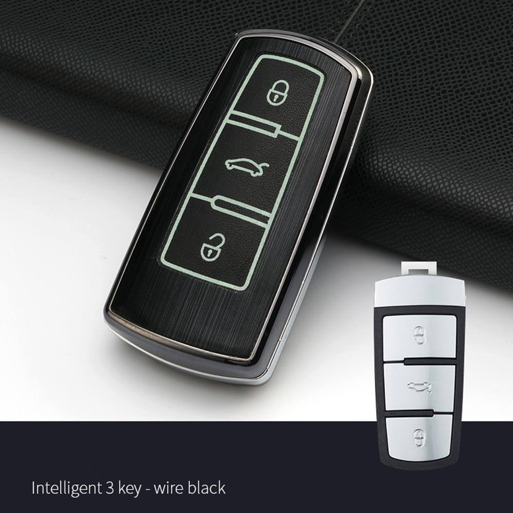 Accessoires de voiture Clé De Voiture Sac En Alliage D'aluminium pour Volkswagen VW Passat CC B6 B7 B7L CC R36 Maogotan B5 Passat