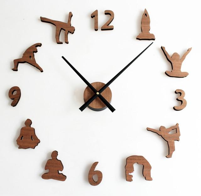 Holz Diy Wanduhr Moderne Design Bambus Uhren Yoga Thema Vintage